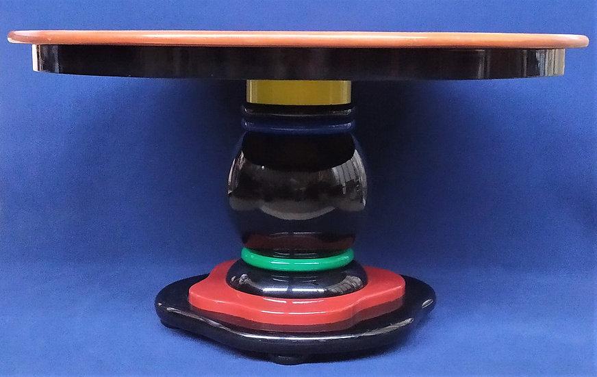 Grande tavolo design in legno di frassino e policromo - Italia anni '80