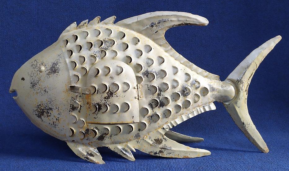Pesce porta-candela in metallo sbalzato - cm 71