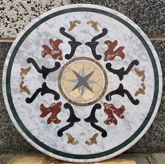 Top in marmo intarsiato Ø cm 130 - spess. 30mm