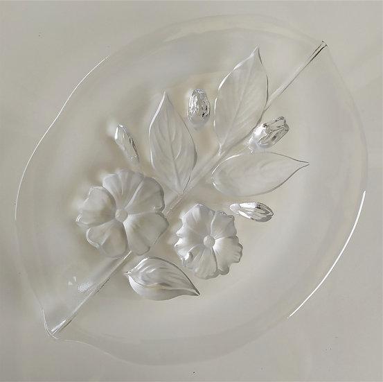Vassoio foglia in vetro molato - Italia anni '70
