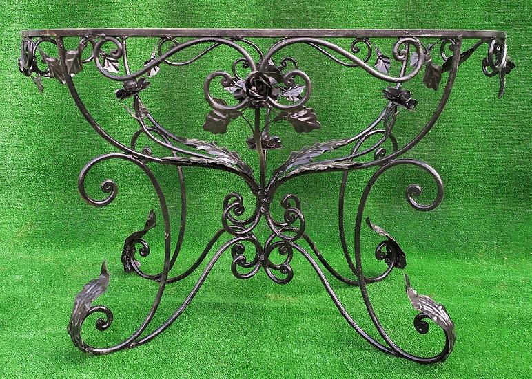 Base tavolino ovale con rose in ferro battuto