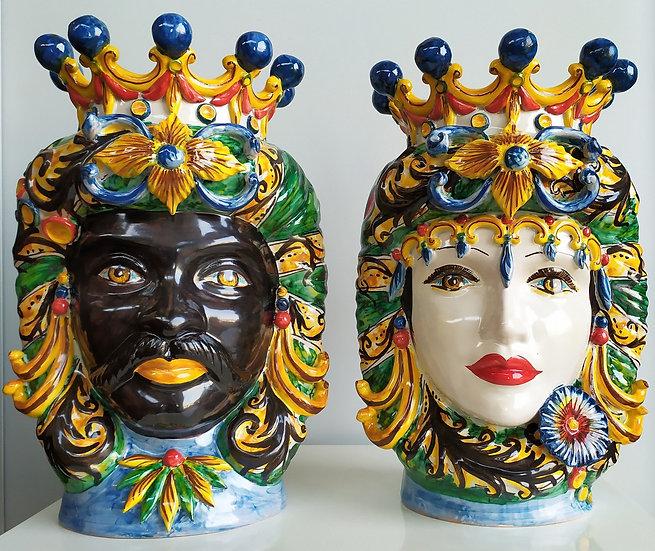 Coppia Teste di Moro con corona cm 38 h - ceramica di Caltagirone