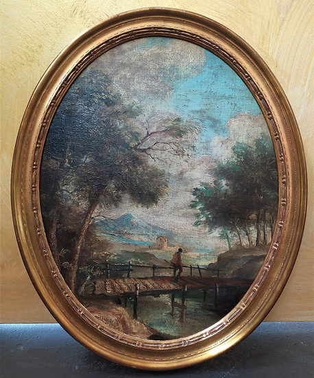 """Dipinto ovale ad olio """"Paesaggio"""" (1) - Italia metà XX sec."""