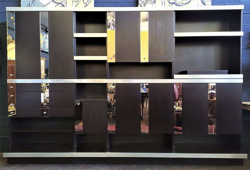 Grande libreria in wengé, acciaio e specchi - Milano anni '70