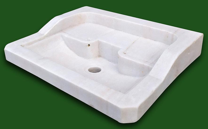 Lavabo rettangolare in marmo bianco scolpito - cm 51