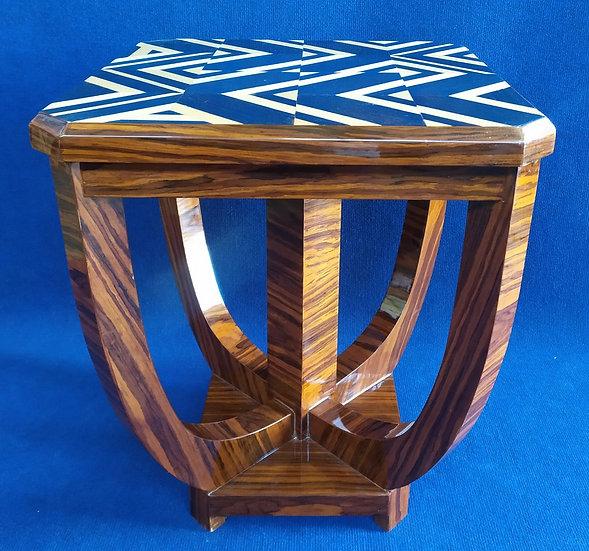Tavolino quadrato stile Art Deco in radica - geometrie blu