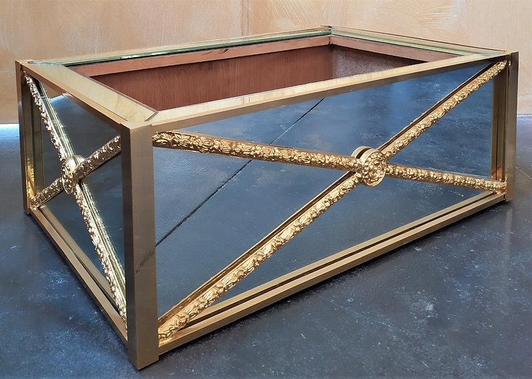 Fioriera a specchio e ottone dorato cm 57 - XX secolo