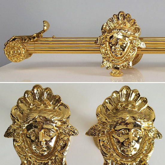 Set bastone tende stile Impero cm 150 - bagno oro XX sec.