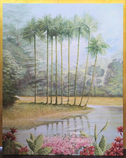 "Enorme dipinto su tela ""Paesaggio 2"" Italia - XX sec."