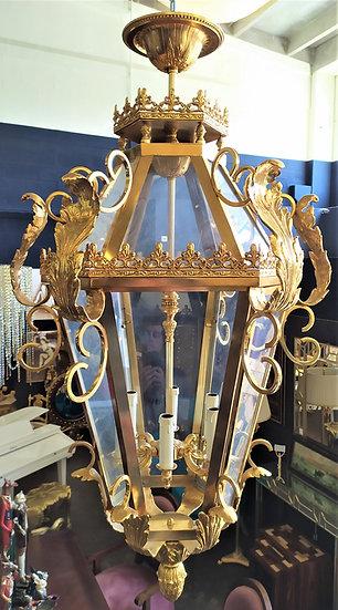 Enorme lanterna esagonale 6 luci in ottone bagno oro