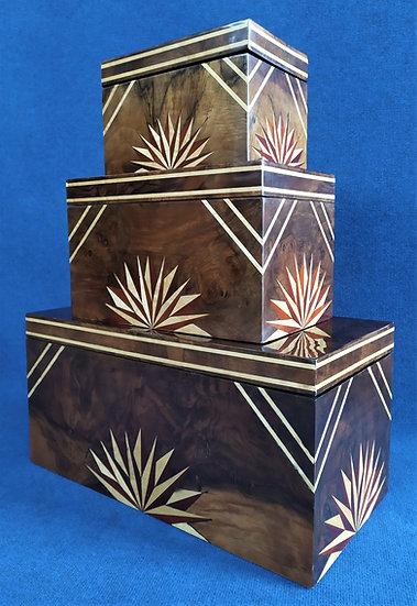 Set 3 scatole vintage in radica intarsiata cm 30/40/60