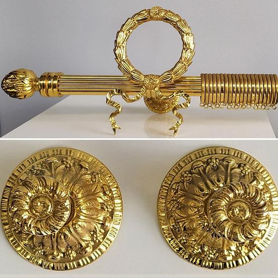 Set bastone tende stile Impero cm 190 - bagno oro XX sec.