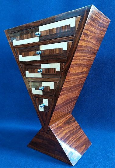 Mobile a triangolo 5 cassetti - stile Art Deco in radica di mogano