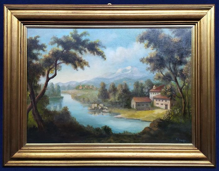 """Dipinto olio su tela """"Paesaggio"""" -M. Braga- XX sec."""
