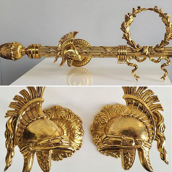Set bastone tende stile Impero cm 213 - bagno oro XX sec.