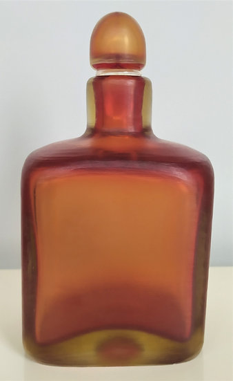 """Bottiglia in vetro colorato - serie """"incise"""" - P. Venini Murano anni '50 '60"""