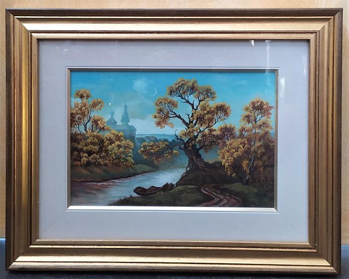 "Dipinto olio su tavola ""Paesaggio"" -firmato- 1999"
