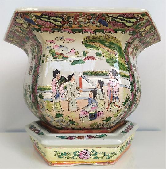 "Cachepot in porcellana Canton ""Famille Rose"" - Ø 36 cm - XX sec."