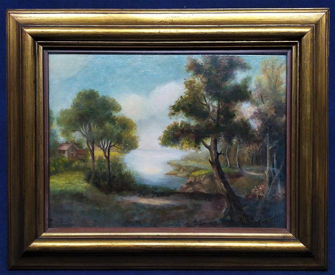 """Dipinto olio su tavola """"Paesaggio"""" -M. Caporali- XX sec."""