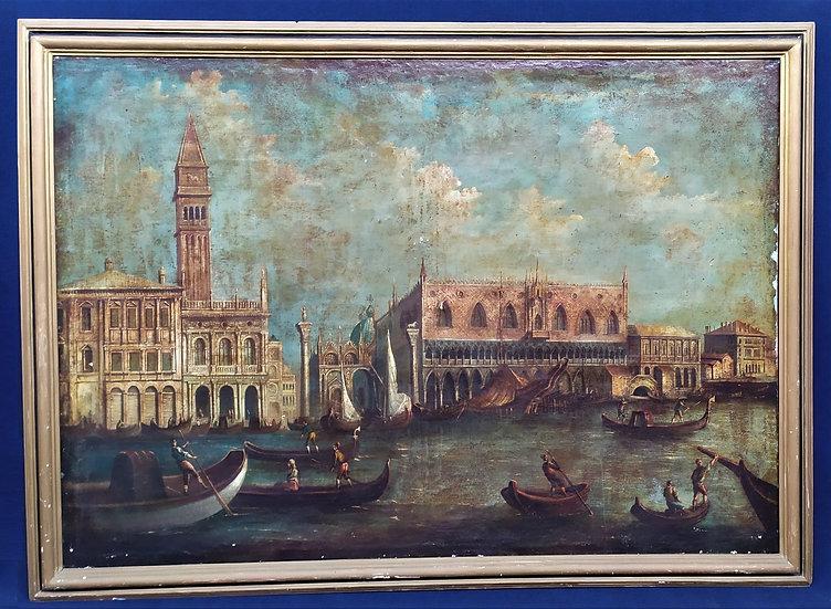 "Enorme dipinto olio su tela ""Palazzo Ducale"" - Venezia XIX sec."