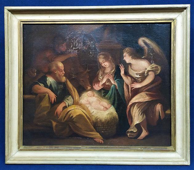 """Dipinto olio su tela """"Adorazione del Bambino"""" - scuola veneta XVIII sec."""
