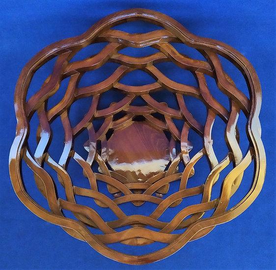 Grande tavolino design a intreccio in legno e top in vetro