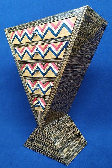 Mobile a triangolo 5 cassetti - stile Art Deco in radica geometrica (A)