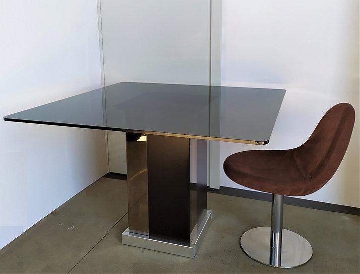 Tavolo in wengé, acciaio e specchi - top vetro fumé - Milano anni '70