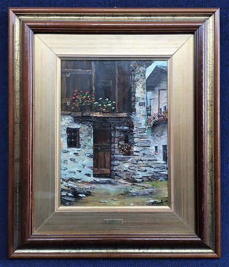 "Dipinto olio su tela ""Baite Montane"" - A. Mantica (Bollate 1948/....)"