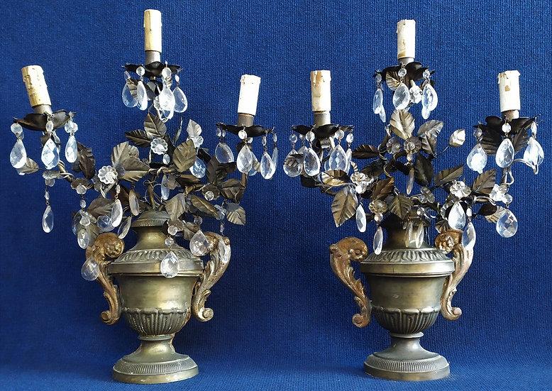 Coppia di appliques 3 luci in legno, cristallo e metallo - Francia XIX sec.
