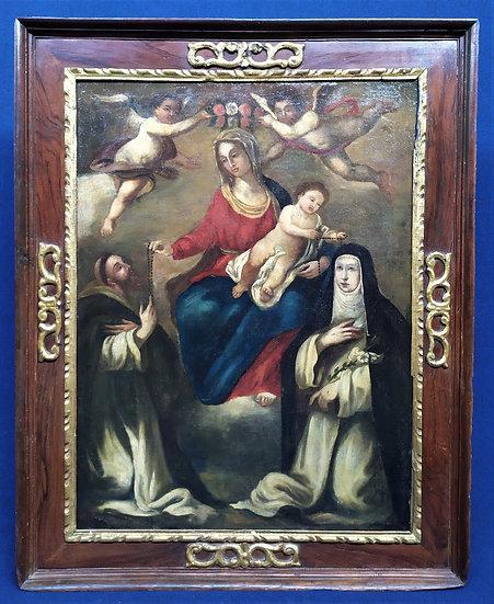 """Grande dipinto olio su tela """"Madonna del Rosario"""" - scuola siciliana XVII sec."""