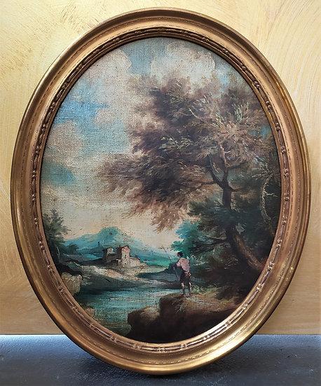 """Dipinto ovale ad olio """"Paesaggio"""" (2) - Italia metà XX sec."""