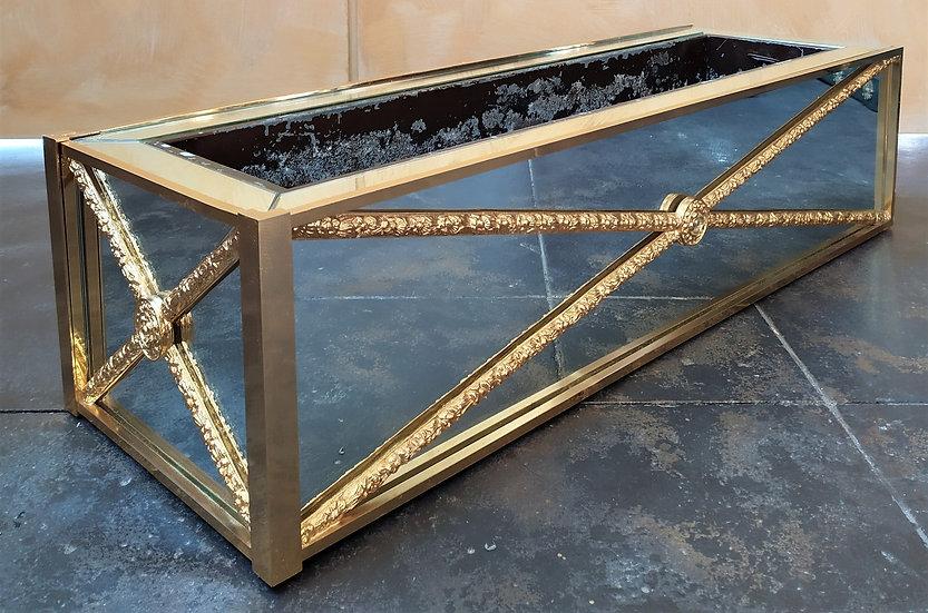 Fioriera a specchio e ottone dorato cm 83 - XX secolo