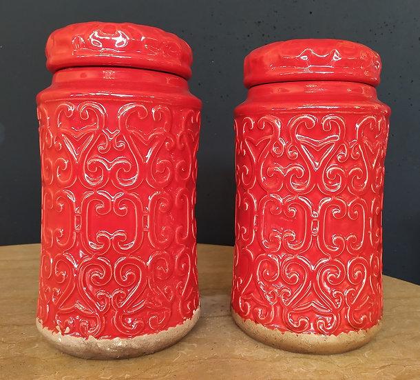 Coppia potiches in ceramica smaltata cm 29 H