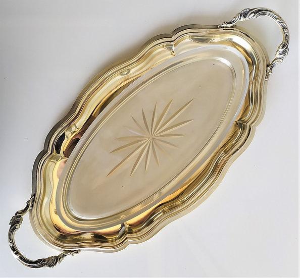 Vassoio in silver plated e vetro molato - Italia anni '50 '60