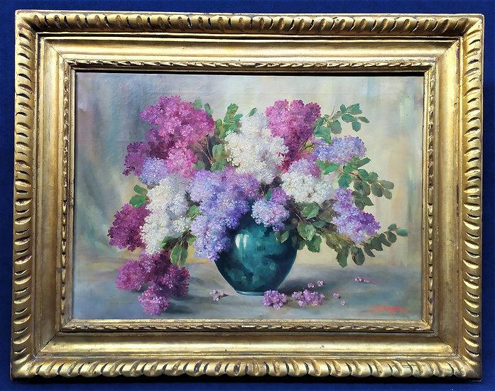 """Dipinto olio su tela """"Vaso di Lillà"""" - Italia metà XX sec."""