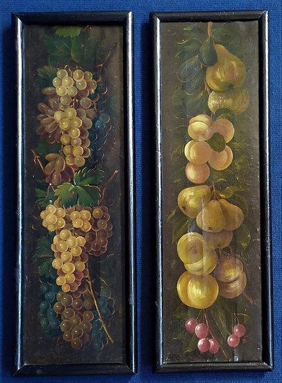 """Coppia di dipinti olio su tela """"Cascate di Frutta"""" - scuola fiamminga XVIII sec."""