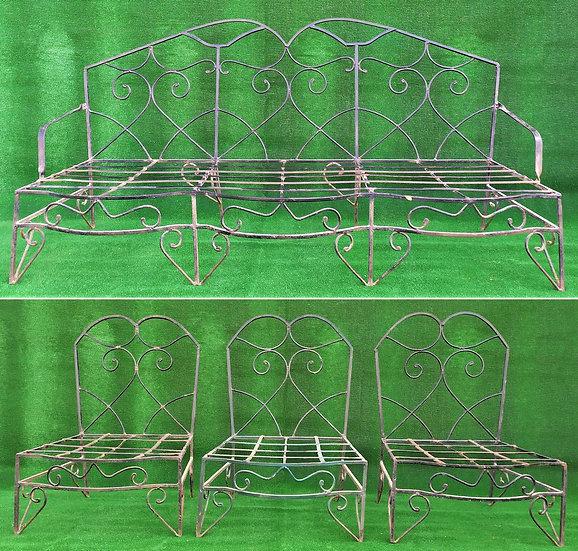 Salotto in ferro battuto - 3 poltrone +1 divano