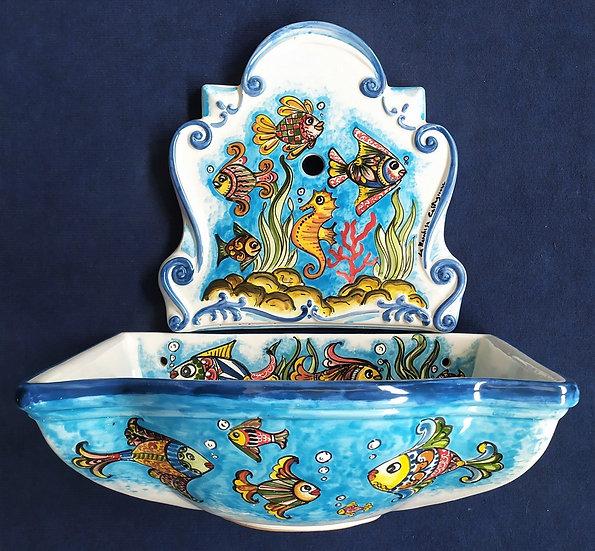 Fontana da muro con pesci dipinti a mano - ceramica di Caltagirone