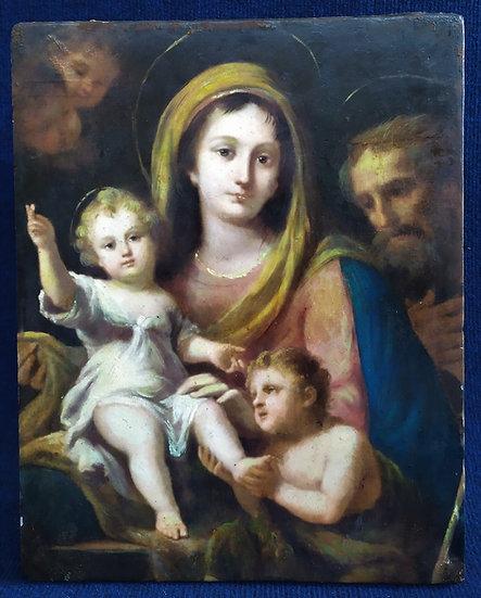 "Dipinto tecnica mista su marmo ""Sacra Famiglia"" - Italia XX sec."