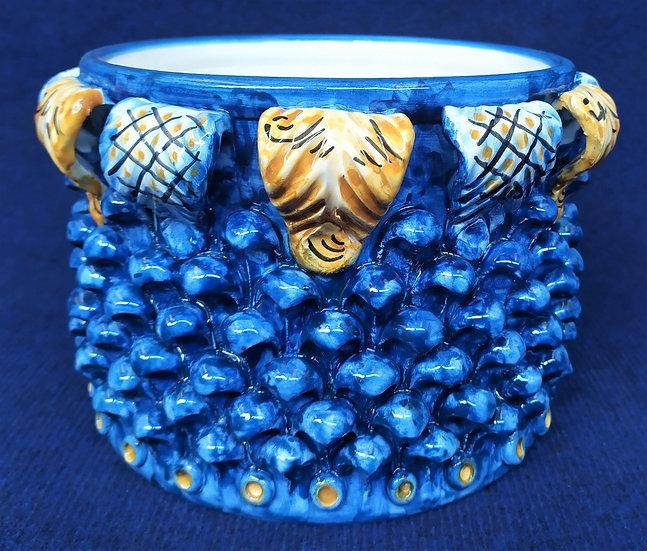 Vaso tondo blu Ø cm 25 - ceramica di Caltagirone