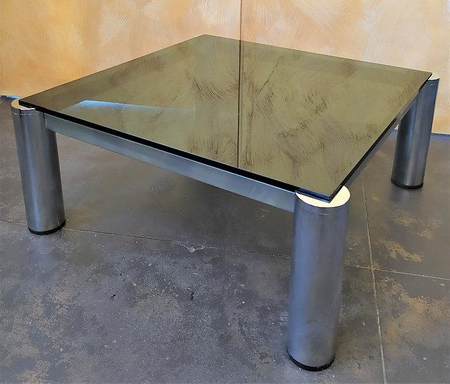 Coffee table in vetro nero fumè e metallo cromato - Italia anni '70
