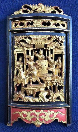 Antico pannello scolpito e dorato - Cina, dinastia Qing - XIX sec.