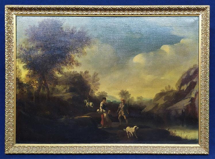"""Grande dipinto olio su tela """"Il ritorno dalla caccia"""" Italia inizio XX sec."""