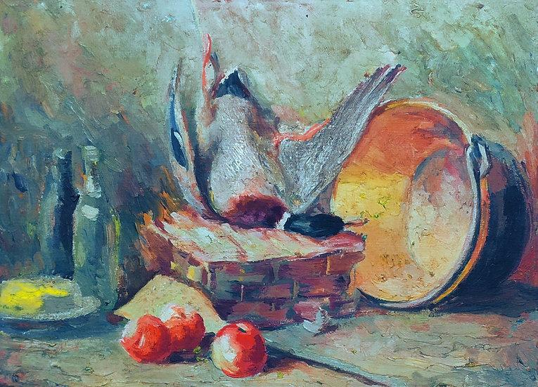 "Dipinto olio su tavola ""Natura morta con germano reale"" - Italia XIX sec."