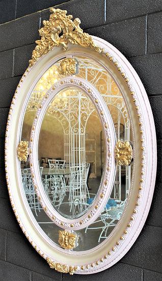 Grande specchiera ovale in legno laccato - Italia metà XX sec.