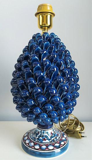Lampada pigna blu/azzurra cm 40 h - ceramica di Caltagirone