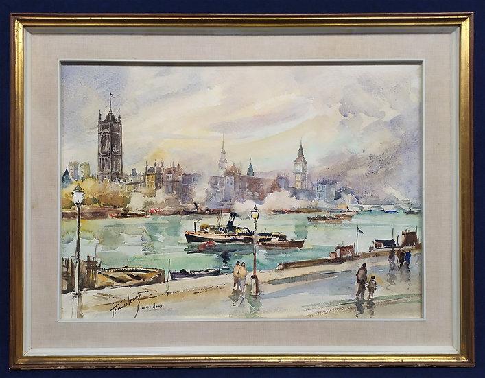 """Dipinto acquerello """"London"""" - Franco Leoni - anni '70"""