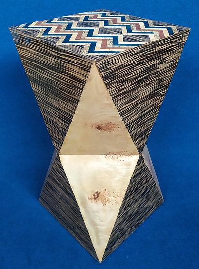 Tavolino colonna poliedrica - stile Art Deco in radiche pregiate (C)