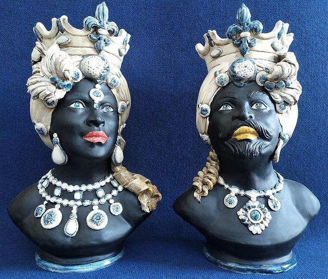 Coppia Teste di Moro nero opaco cm 48 h - ceramica di Caltagirone
